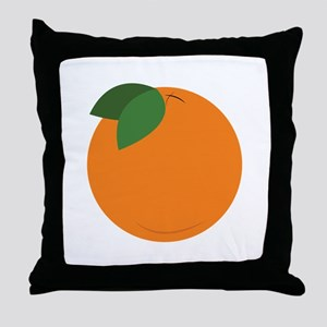 Round Orange Throw Pillow