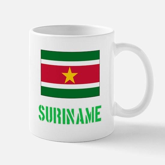 Suriname Flag Stencil Green Design Mugs