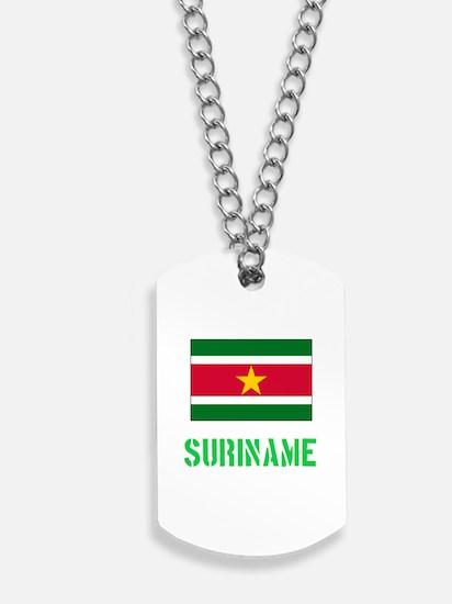 Suriname Flag Stencil Green Design Dog Tags