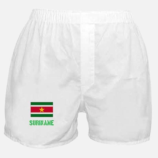 Suriname Flag Stencil Green Design Boxer Shorts