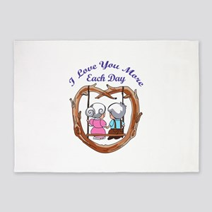 LOVE YOU MORE EACH DAY 5'x7'Area Rug