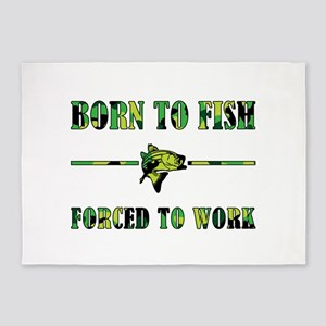 BORN TO FISH 5'x7'Area Rug