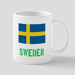 Sweden Flag Stencil Green Design Mugs