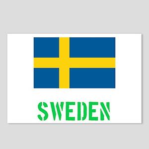 Sweden Flag Stencil Green Postcards (Package of 8)