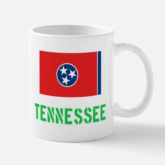 Tennessee Flag Stencil Green Design Mugs