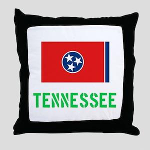 Tennessee Flag Stencil Green Design Throw Pillow