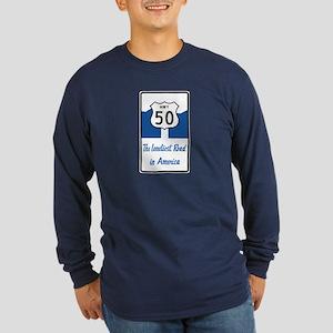 Highway 50, Loneliest in Long Sleeve Dark T-Shirt