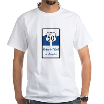 Highway 50, Loneliest in America, Ne White T-Shirt
