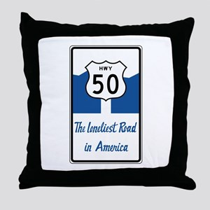 Highway 50, Loneliest in America, Nev Throw Pillow