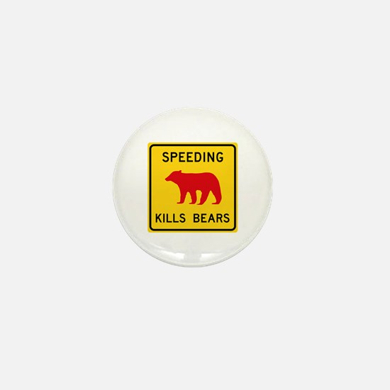 Speeding Kills Bear, California (US) Mini Button