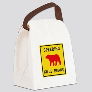 Speeding Kills Bear, California ( Canvas Lunch Bag