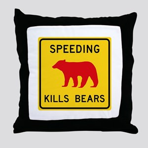 Speeding Kills Bear, California (US) Throw Pillow