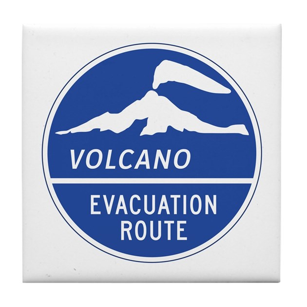 Volcano Evacuation Route Washington Tile Coaster By