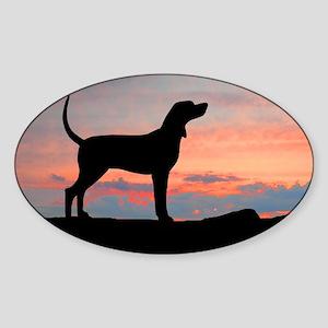 Sunset Coonhound Oval Sticker