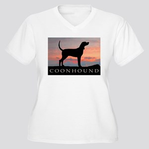Sunset Coonhound Women's Plus Size V-Neck T-Shirt