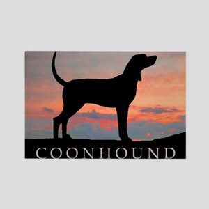 Sunset Coonhound Rectangle Magnet