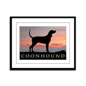 Sunset Coonhound Framed Panel Print