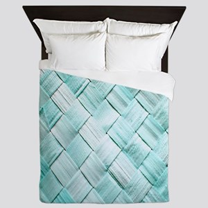 Pastel Lattice Basket Art Queen Duvet