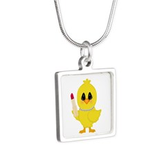 Easter Chick in Pearls with Lipstick Necklaces