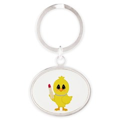 Easter Chick in Pearls with Lipstick Keychains
