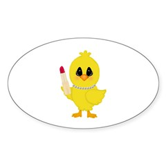 Easter Chick in Pearls with Lipstick Decal