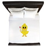 Easter Chick in Pearls with Lipstick King Duvet