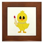 Easter Chick in Pearls with Lipstick Framed Tile