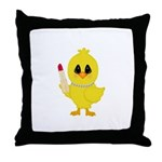 Easter Chick in Pearls with Lipstick Throw Pillow