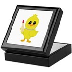 Easter Chick in Pearls with Lipstick Keepsake Box