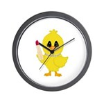 Easter Chick in Pearls with Lipstick Wall Clock