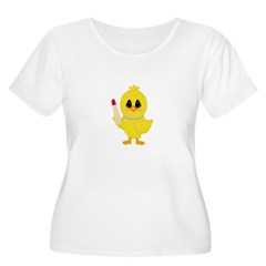 Easter Chick in Pearls with Lipstick Plus Size T-S