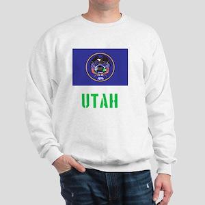 Utah Flag Stencil Green Design Sweatshirt