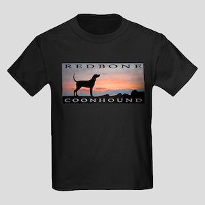 Redbone Coonhound Sunset Kids Dark T-Shirt