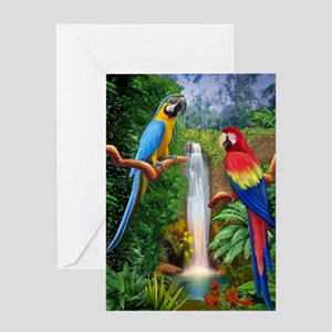 MaCaw Tropical Parrots Greeting Card