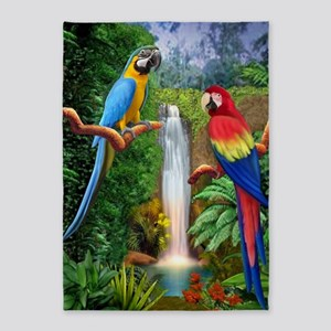 MaCaw Tropical Parrots 5'x7'Area Rug