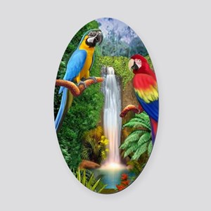 MaCaw Tropical Parrots Oval Car Magnet
