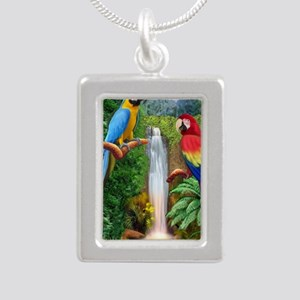 MaCaw Tropical Parrots Silver Portrait Necklace