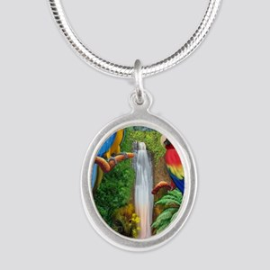 MaCaw Tropical Parrots Silver Oval Necklace