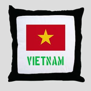 Vietnam Flag Stencil Green Design Throw Pillow