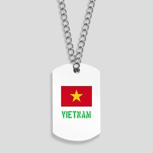 Vietnam Flag Stencil Green Design Dog Tags