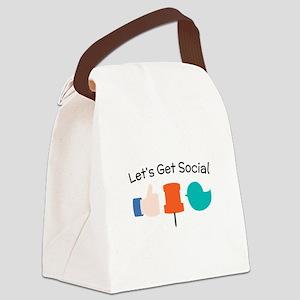 Let's Get Social Canvas Lunch Bag