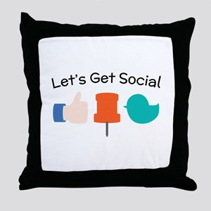 Let's Get Social Throw Pillow