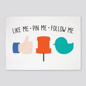 Like Me Pin Me Follow Me 5'x7'Area Rug