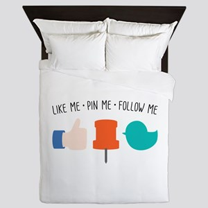 Like Me Pin Me Follow Me Queen Duvet