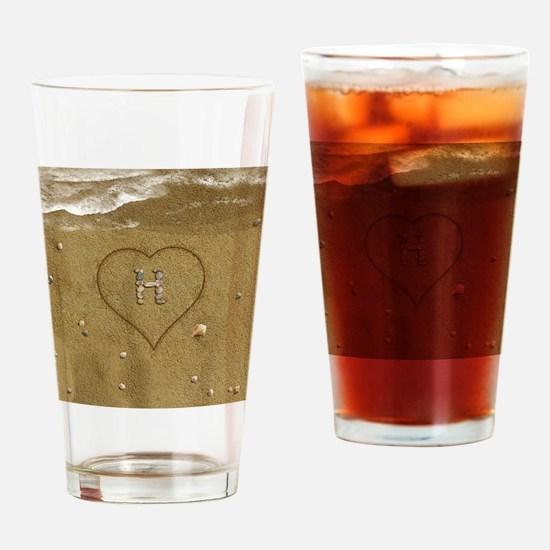 H Beach Love Drinking Glass