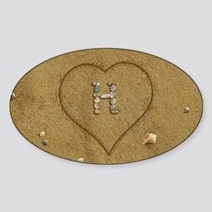H Beach Love Sticker (Oval)