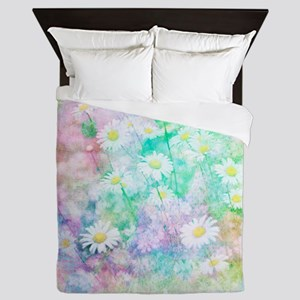 Watercolor daisies Queen Duvet