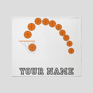 Basketball Balls And Net Throw Blanket