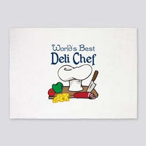WORLDS BEST DELI CHEF 5'x7'Area Rug