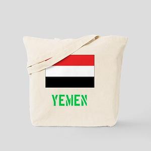 Yemen Flag Stencil Green Design Tote Bag